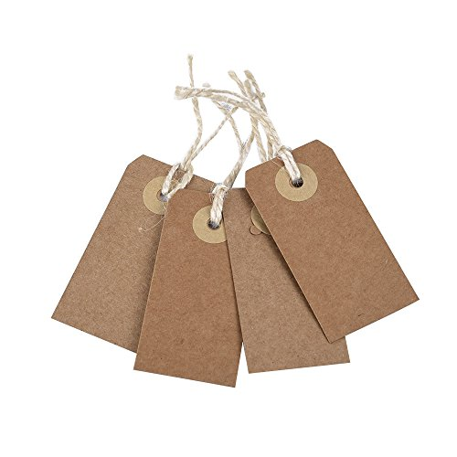 Brown Strung Tags Kraft Paper Tags Gift Tags Luggage Tags Wedding Paper Tags (50 Pieces, Small Size)