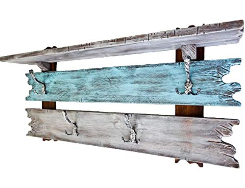 SHaBBy CHic ViNTaGe Holz Garderobe mit 4x3 Metallhaken blau braun grau (HXBXT: 5ox1oox15 cm) aus Echtholz/Massivholz im used look rustikal Landhaus Stil (alternativ: Gaderobe, Gardrobe)