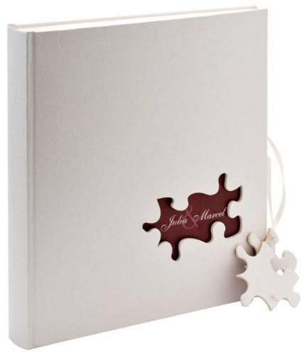 Walther UH-173 bruiloftsalbum - puzzel met stanswerk voor persoonlijke vormgeving, 60 pagina's, 28 x 30,5 cm beige