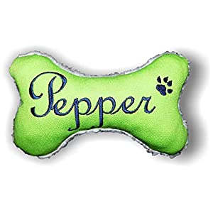 Hunde Spielzeug Kissen Knochen Hundeknochen Quitscher apfelgrün Größe XXS XS S M L XL oder XXL mit Name Wunschname…