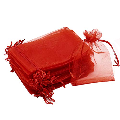 "Dealglad 100pcs Drawstring Organza Jewelry Candy Pouch Party Wedding Favor Gift Bags (3x4"", Red)"