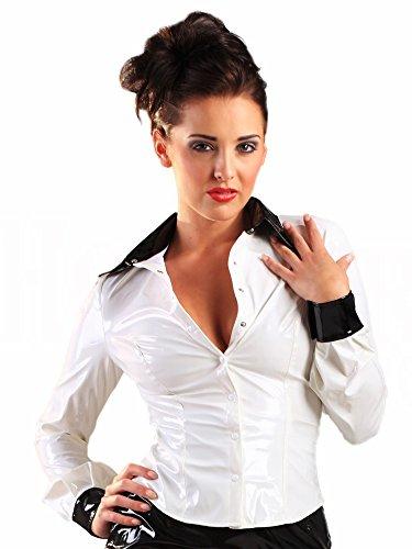 Honour Dames Shirt in PVC Zwart & Wit Maat UK 16 (XL), PVC kleding, Vinyl kleding, Glanzende Kleding