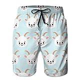 jiilwkie 58 Mens Summer Swim Trunk Cute Cool Seamless Pattern Baby Animals Farm Cabra XXL