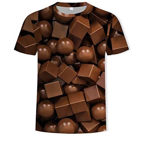 Zaima Camisetas Unisex Impresas En 3D Verano Personalizado Casual Camisetas De Manga Corta Camisetas De Chocolate Hombres SuéTer Suelto Damas Creatividad Mujeres Tallas Grandes O-Cuello