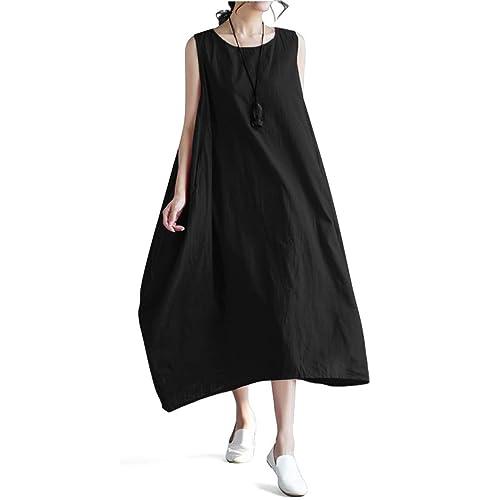 c57e7f5cc3a92 Vincy Show Women Linen O-Neck Sleeveless Loose Big Swing Long Beach Summer  Maxi Dresses