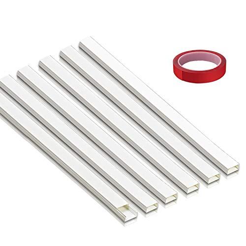 Canaleta Cables Adhesiva/Canal de Cable Blanco/Canaleta CablesTV(L 40cm x W 3.9cm x H 1.9cm) 6 piezas