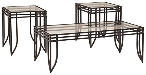 Signature Design by Ashley Exeter Contemporary Glass Top Occasional Table Set of 3, Black