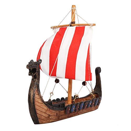 Viking Boot Hars Miniatuur Zeilboot met Traditionele Chinese Draak Hoofd voor Home Bureau Decoratie Office Ornament