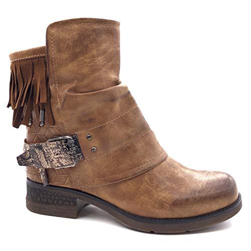 Angkorly - Damen Schuhe Stiefeletten - Biker - Classic - Vintage-Stil - Fransen - Schleife - String Tanga Blockabsatz high Heel 3.5 cm - Camel F2835 T 36