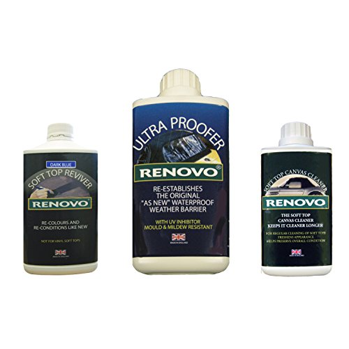 Renovo Ren-KIT4 Triple-Washer-Kit Enthält weiches Top Erneuerer/Soft Top Ultra Proofer/Soft Top Cleaner, Leinwand Blau