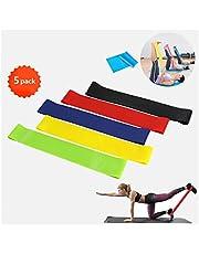 Weerstandsbanden voor tractie, elastische fitnessband van latexstof met 5 sterktes en draagtas, compleet, workout, band voor gymnastiek, enkels, yoga, pilates, sport, heren en dames