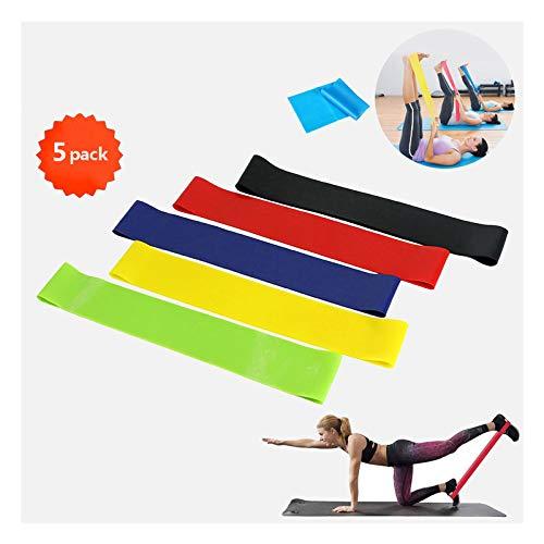 Bandas Elasticas Fitness Goma Resistencia Bandas de Ejercicios Tela Elástica para Yoga, Gimnasio, Deporte, Pilates, Ejercicio, Crossfit, Entrenamiento, 5 Cintas Elastica de Resistencia con Nivel