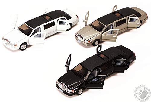 Lincoln Town Car Limousine Stretch Kinsmart Nero Giocattolo Modellino Diecast Scala 1:38