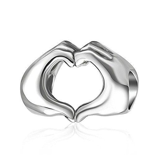 925 Sterling Silver Love Heart Charm in Your Hands Charm Valentine's Day Charm Family Charm for Pandora Charm Bracelet