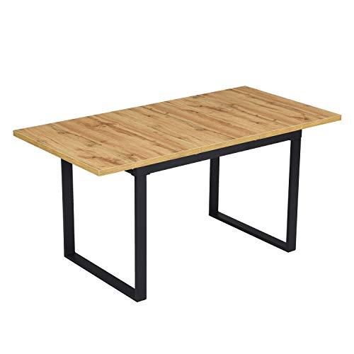 B&D home - Esstisch ausziehbar 120-160x80 cm | Holztisch in Wild Eichen-Optik | Kufengestell schwarz