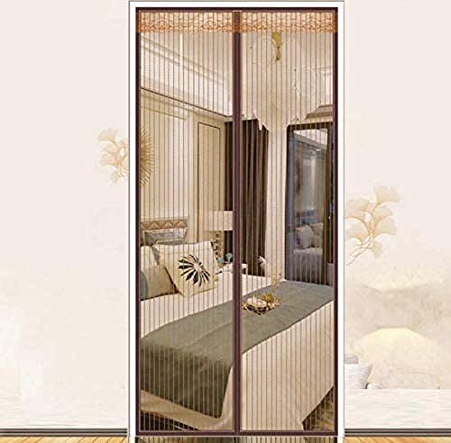 WRJY Magnetic Screen Door, Fly Screen Door, Anti Mosquito Magnetic Soft Door, Fiberglass Mesh Curtain, Powerful Magnets, Keep Bugs Out, Let Fresh Air in-Brown_100200cm(3979inch)