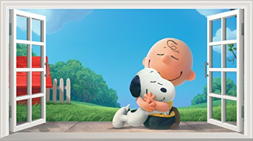 Chicbanners Peanuts V001 Wandtattoo, Motiv Charlie Brown and Snoopy, selbstklebend, Größe 1000 mm breit x 600 mm tief