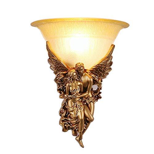 Vintage E14 Rund Glas Lampenschirm Wandleuchte Kreativ Engel Harz Deckenbeleuchtung Retro Messing Farbe Eisen Wandlampe für Wohnzimmer Schlafzimmer Restaurant Schneise Korridor Ø30cm