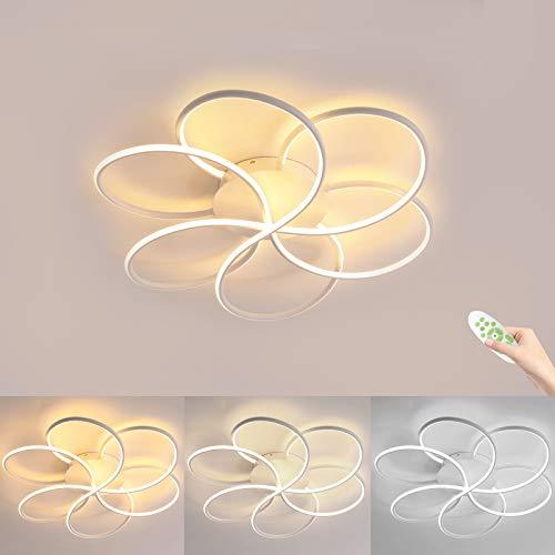 Moderne LED Deckenleuchte, 72W 7200LM LED Deckenlampe, Kreative Blume Geformte Aluminium Körper, Dimmbar mit Fernbedienung, 3000K - 6000k, Deckenleuchten for Wohnzimmer, Flur, Schlafzimmer
