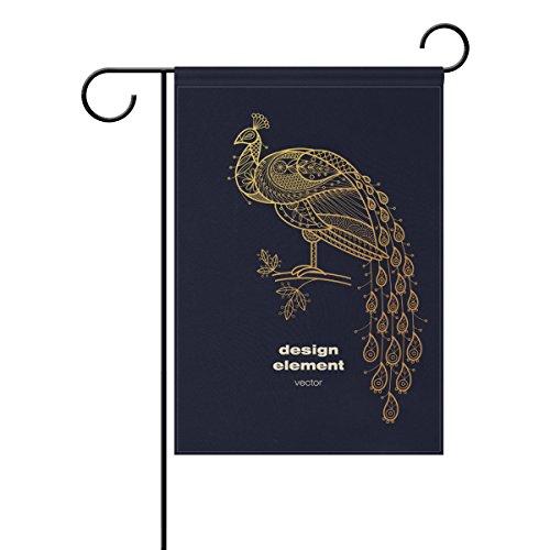 Jstel Home Paon Bird Animal Tissu Polyester drapeaux de jardin Lovely et résistant aux moisissures personnalisés imperméables de 71,1 x 101,6 cm