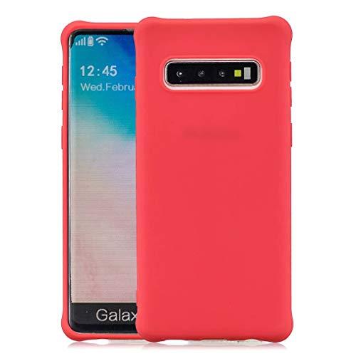Qsdd Vervanging voor Samsung Galaxy S10+/S10 Plus Telefoonhoesje Ultra Dun Anti-Kras Zachte TPU-Siliconen Anti-Vingerafdruk Anti-Val Schokbestendig Telefoon Shell-Rood