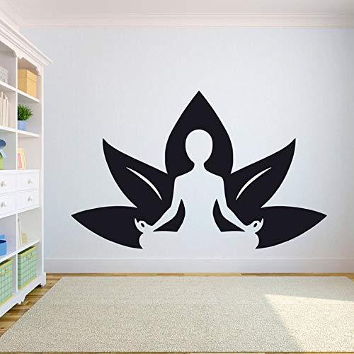 Calcomanías de pared de hoja de yoga dormitorio gimnasio sala de yoga pegatinas de pared de vinilo diseño de interiores decoración bodybuilding girl art calcomanías de ventana