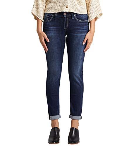 Silver Jeans Co. Women's Boyfriend Mid Rise Slim Leg Jeans, Deep Dark Indigo Wash, 30W x 29L
