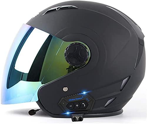 GPFFACAI casco integral moto mujer Casco de moto bluetooth casco jet, casco de moto con visera solar, sombrero de cabeza, casco jet, casco de scooter, casco de ciclomotor, casco de scooter(Size:Medium