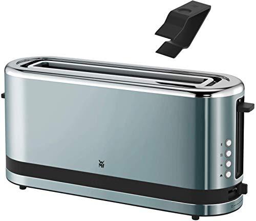 WMF Küchenminis Toaster Langschlitz mit Brötchenaufsatz, 900 W, XXL Toastscheiben, 7 Bräunungsstufen, Bagel-Funktion, Toaster edelstahl matt/metallic blau