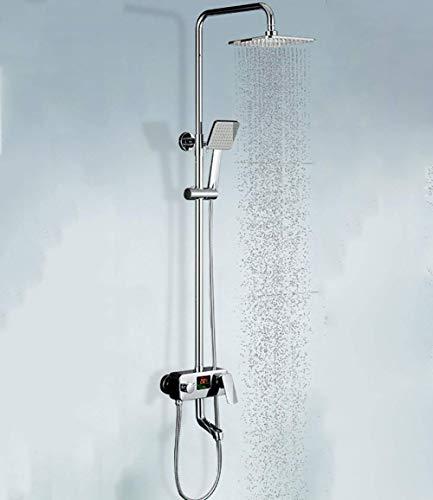 LAMZH Conjunto de ducha led grifos de ducha Dispaly mezclador lluvia de agua cromo cobre retro apliques ducha cuadrada puede aumentar la rotación