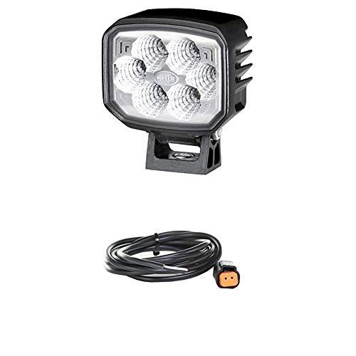 Hella 1GA 996 488-001 Arbeitsscheinwerfer - PowerBeam 1800 Compact - LED - 12V/24V - 1850lm - Anbau/Bügelbefestigung - hängend/stehend - Nahfeldausleuchtung + Kabelsatz, Arbeitsscheinwerfer, Schwarz
