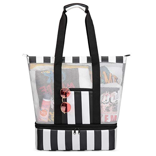 Beach Cooler Tote Bag,BERTASCHE Mesh Travel Tote Bag with Zipper Pockets and Cooler Compartment for Picnics, Barbecues, Camping,Pools (Black & White)