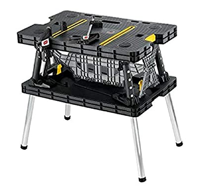 Keter Folding Table Work Bench for Miter Saw Stand, Woodworking Tools and Accessories with Included 12 Inch Wood Clamps – Easy Garage Storage from
