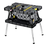 Keter - 197283 Folding Table Work Bench for Miter Saw Stand, Woodworking Tools and Accessories with Included 12 Inch Wood Clamps – Easy Garage Storage Black/Yellow