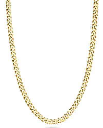 Miabella Solid 18k Gold Over 925 Sterling Silver Italian 3.5mm Diamond Cut Cuban Link Curb Chain Necklace for Women Men, 13+2, 16, 18, 20, 22, 24, 26, 30 Inch Made in Italy (30 Inches)