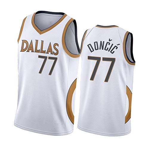 CLKI # 77 ḷuḳa Jersey de Baloncesto de Doncic, Mavericks Fans Men's Fans Edition Chaleco, Secado rápido al Aire Libre Camiseta de Camiseta de Malla Transpirable White-S