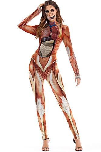 Carprinass Damen Halloween Kostüme Jumpsuits Digital Gedruckt Skinny Catsuit - Braun - Groß
