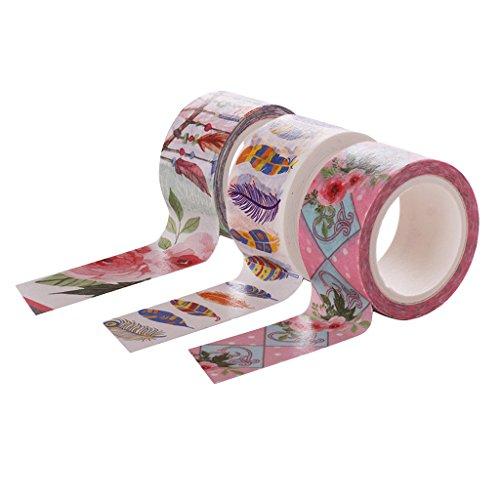 3 Rollen Deko Sticker Klebeband Masking Tape Papier Sticker 5 X 2 cm - Farbe 7