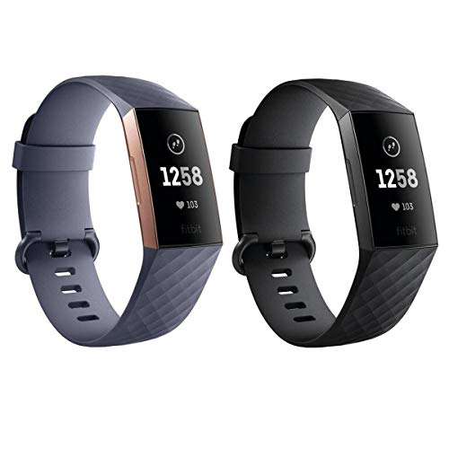 Fitbit Charge 3 Fitness Watch, for Her & Him Kit - Rose Gold/Blue Grey & Graphite/Black