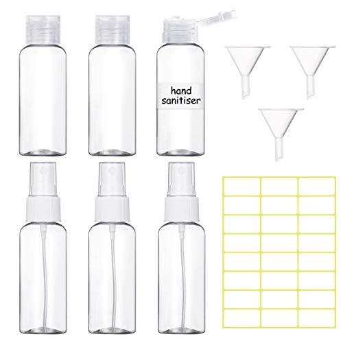 6 Stück Reiseflasche Sprühflaschen 50ml, Leer Flip-Cap-Flaschen Mini Zerstäuber Plastik Fläschchen Reiseflaschen mit 3 Trichtern und 24 Stück Etiketten