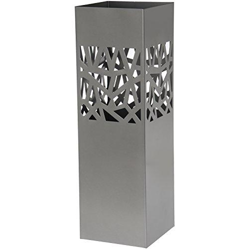 DONREGALOWEB Paraguero Cuadrado de Metal con Forma Cubos con recogeaguas 15.5x15.5x49 cm (Plateado)