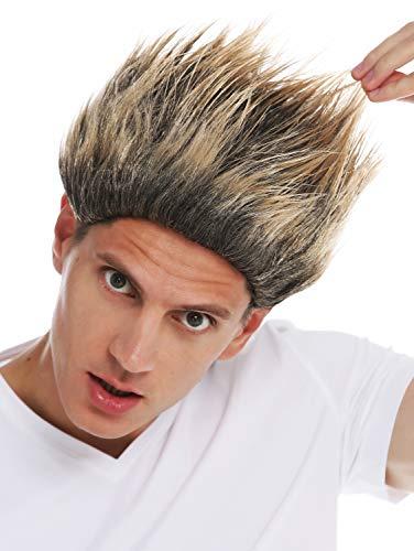 WIG ME UP - 31733-ZA103-82A Perücke Halloween Herren Damen hoch toupiert Troll Teufel Kobold schwarz blond Spitzen