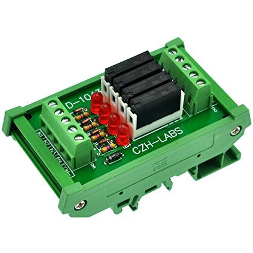 Electronics-Salon Slim DIN Rail Mount DC5V Source/PNP 4 SPST-NO 5A Power Relay Module, APAN3105