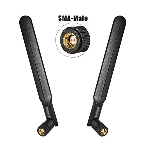 9dBi Omni WiFi Antenna with SMA Male Connector 4G LTE High Gain WiFi Signal Booster for Wireless Network Router/USB Adapter/WiFi Range Extender/Mobile Broadband/IP Camera(2-Pack)