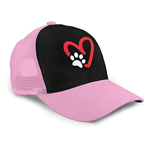 Paw Print Heart Dog Classic American Style Boutique Mesh Transpirable Gorra de béisbol Unisex Imprimir As-Hip Hop Negro Snapback Sombreros, rosa, Taille unique