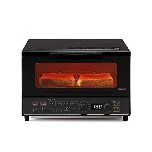 アイリスオーヤマ オーブントースター 1200W 温度調節機能(80~230度) タイマー60分 自動メニュー20種類 生トースト 極上トースト 食パン4枚 上下ヒーター4本 マイコン式 ブラック 2021年モデル MOT-401-B