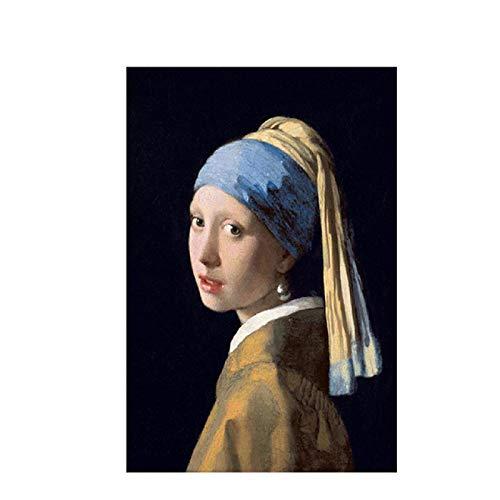 Impresión en lienzo Chica con un pendiente de perla de Johannes Reproducción de carteles de pintura al óleo e impresiones para la decoración del hogar de la sala de estar 60x90cm (24x36 pulgadas)