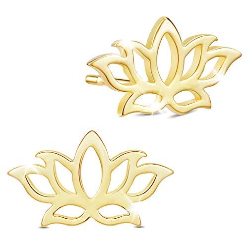 SHEGRACE Pendientes de Tachuela Lotus de para Mujer en Plata de Ley 925, Platino, Oro Rosa, Pendientes Chapados en Oro de 18 Quilates, Regalo para Niñas