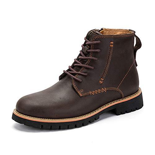 Leder Herrenmode Ankle Work Boot Lässig Klassische Reine Farbe Seitlichem Reißverschluss High Top Outdoor Hunter Boot Schuhe (Color : Dunkelbraun, Größe : 44 EU)
