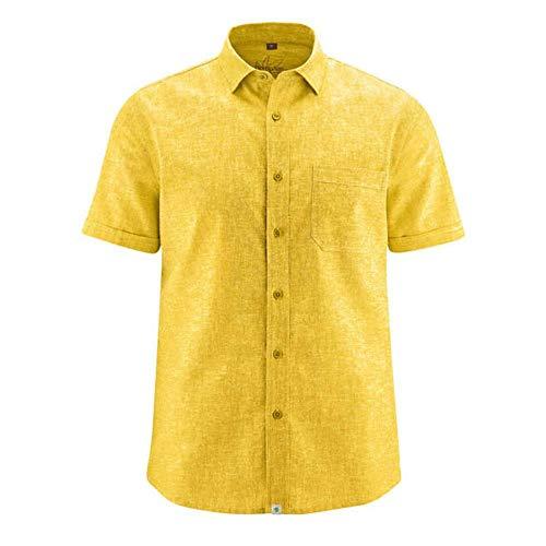 HempAge Herren Hemd Hanf/Bio-Baumwolle, Curry, Gr. XL